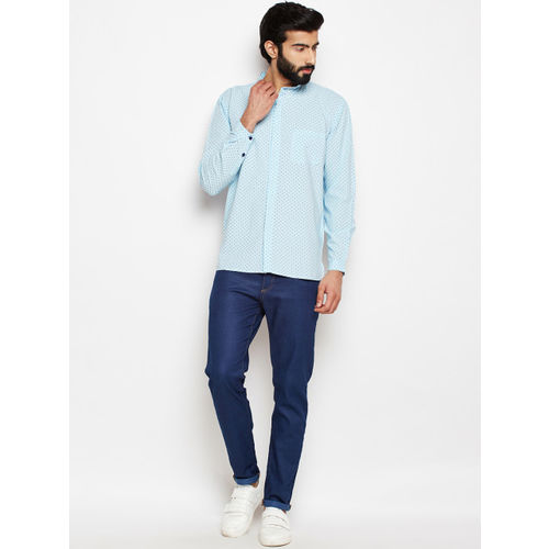 Oxolloxo Men Blue Regular Fit Polka Dots Printed Casual Shirt