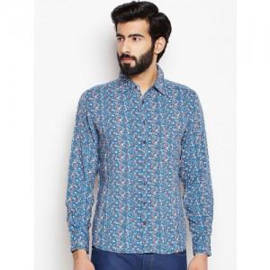 Oxolloxo Men Blue Regular Fit Floral Printed Casual Shirt