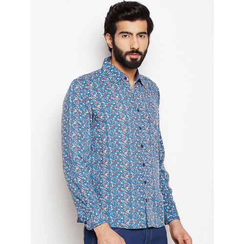 Oxolloxo Men Blue Regular Fit Floral Printed Casual Shirt