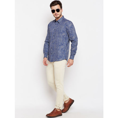 Oxolloxo Men Blue Regular Fit Printed Casual Shirt