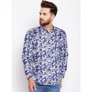 Oxolloxo Men Blue & White Regular Fit Printed Casual Shirt