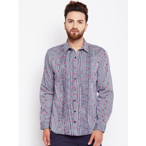 Oxolloxo Men Blue Regular Fit Striped Casual Shirt