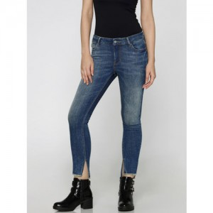 5b2d49a32 ONLY Women Blue Skinny Fit Mid-Rise Clean Look Stretchable Cropped Jeans