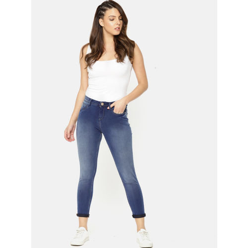 Jealous 21 Women Blue Slim Fit Mid-Rise Clean Look Stretchable Cropped Jeans