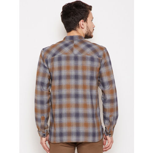 Oxolloxo Men Grey & Brown Regular Fit Checked Casual Shirt