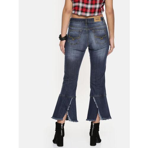 Roadster Blue Denim Cropped Flared Jeans