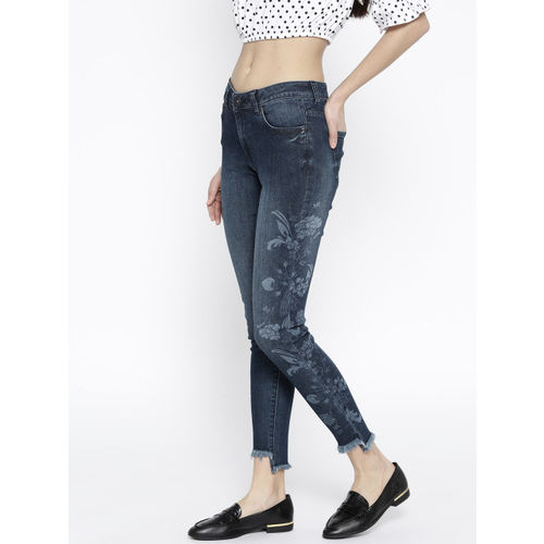 United Colors of Benetton Women Navy Blue Skinny Fit Mid-Rise Stretchable Cropped Jeans