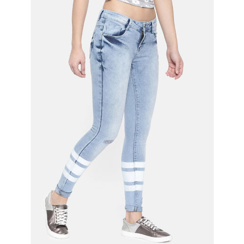 ZHEIA Women Blue Skinny Fit Mid-Rise Low Distress Stretchable Jeans