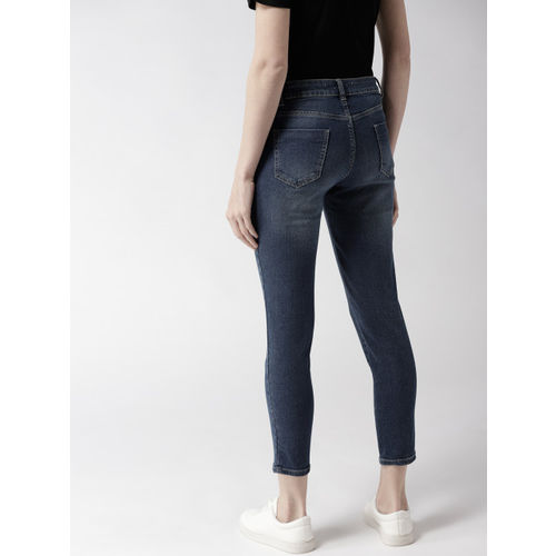 Mast & Harbour Women Navy Skinny Fit Mid-Rise Clean Look Stretchable Cropped Jeans