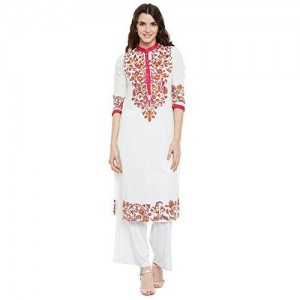 Aairah Women's Printed White Cotton Kurti