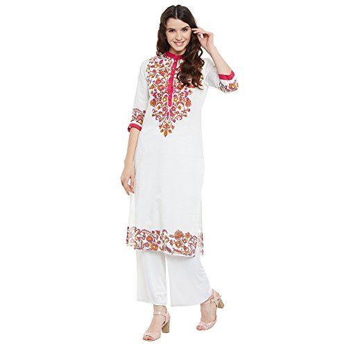 Aairah Women's Printed White Cotton Kurti