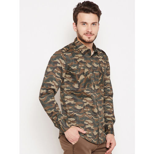 Oxolloxo Men Olive Green & Brown Regular Fit Printed Casual Shirt