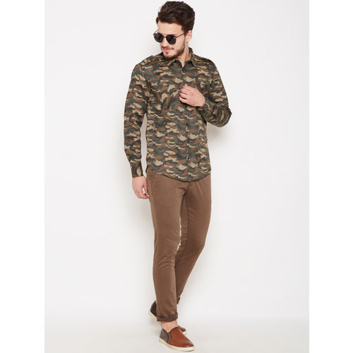 Oxolloxo Men Olive Green & Brown Regular Fit Printed Casual Shirt