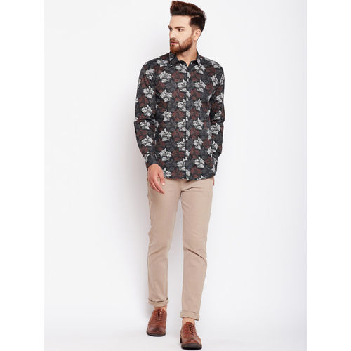 Oxolloxo Olive Green Cotton Regular Fit Printed Casual Shirt