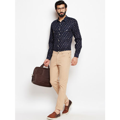 Oxolloxo Men Navy Blue Regular Fit Printed Casual Shirt