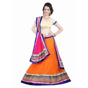 Clothing Deal Orange Net Wedding Lehenga Choli