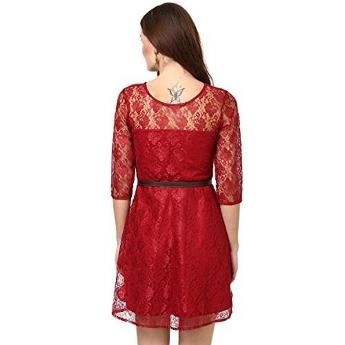 La ZoireMaroon Lace Dress