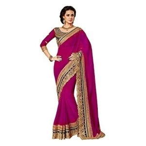 Winza Women Pink Embroidered Georgette Saree