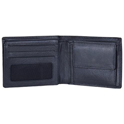 AM Leather Black Leather Solid Bi-Fold Wallet