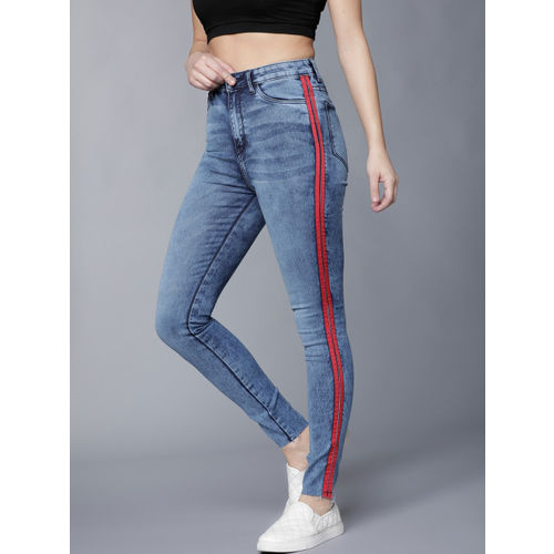Tokyo Talkies Women Blue Super Skinny Fit Mid-Rise Clean Look Stretchable Jeans