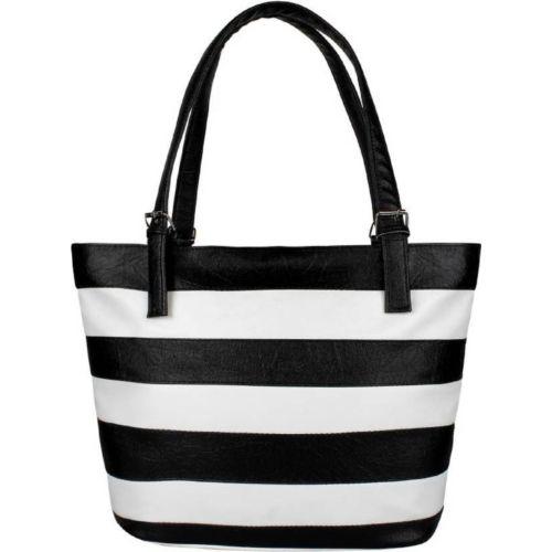 Avni's White & Black Polyurethane Tripped Hand-held Bag