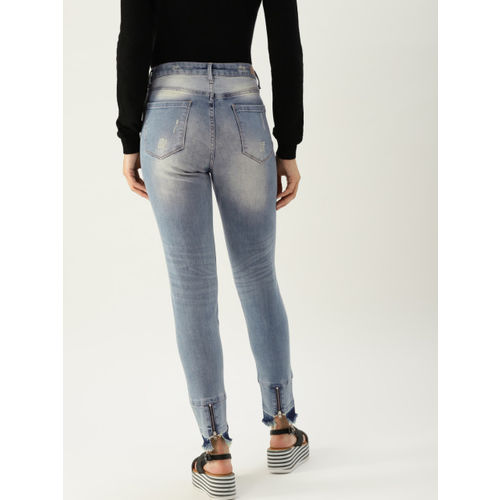 United Colors of Benetton Women Blue Skinny Fit Mid-Rise Mildly Distressed Stretchable Jeans
