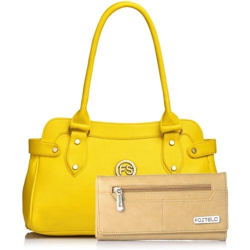 Fostelo Beige & Yellow Polyurethane Combo Handbag & Clutch