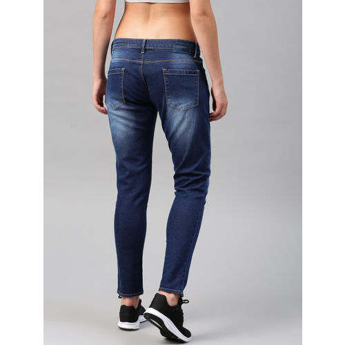 HRX by Hrithik Roshan Women Blue Slim Fit Mid-Rise Clean Look Stretchable Cropped Jeans