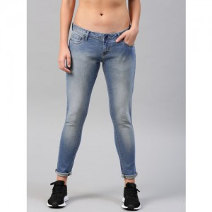 HRX by Hrithik Roshan Women Blue Slim Fit Mid-Rise Clean Look Stretchable Jeans
