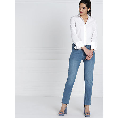 all about you Women Blue Straight Fit Mid-Rise Clean Look Stretchable Jeans