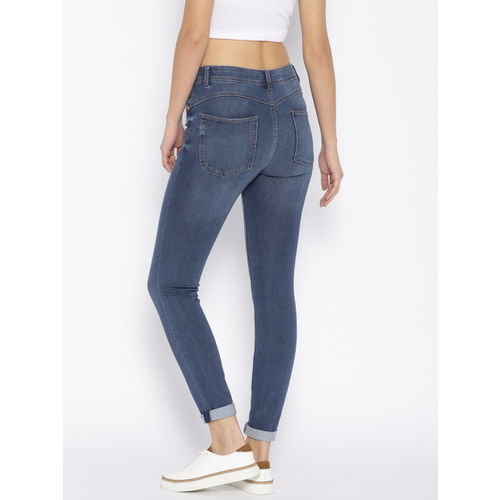 OVS Women Blue Miley Push Up Fit Mid-Rise Lightly Faded Stretchable Jeans