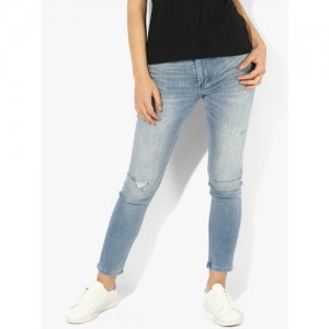 Calvin Klein Jeans Light Blue Solid High Rise Skinny Fit Jeans