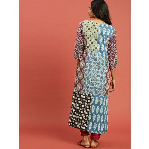 Taavi Women Blue & Maroon Ajrakh Hand Block Print Straight Kurta with Button Closure