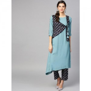 Ives Women Blue & Black Solid Kurta with Trousers Ethnic Jacket