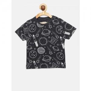 Juniors by Lifestyle Boys Black Printed Round Neck T-shirt