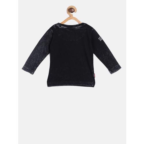 Gini and Jony Boys Black Solid Round Neck T-shirt