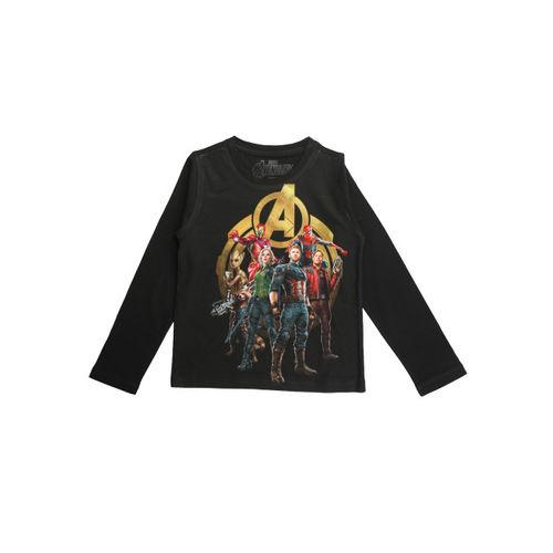 Marvel Avengers Boys Black Printed Round Neck T-shirt