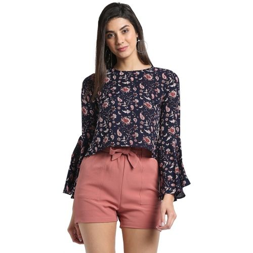 Trend Arrest Casual Bell Sleeve Floral Print Women's Blue Top