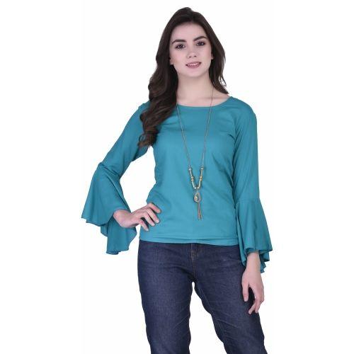 dc2d602770e37 Buy VAANYA Casual Bell Sleeve Solid Women s Light Blue Top online ...