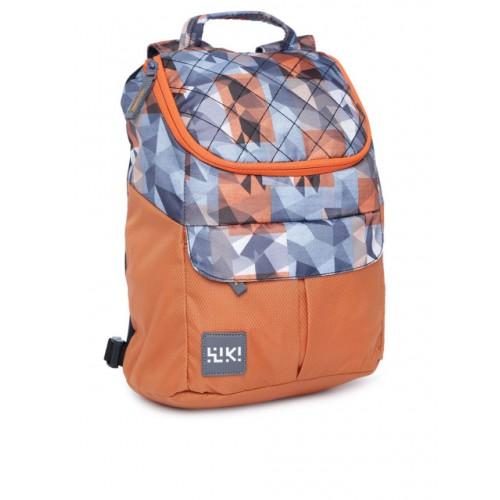 Wildcraft Orange & Blue Polyester Graphic Backpack