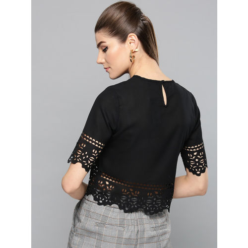 Harpa Women Black Solid Crop Top