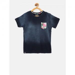 Palm Tree Boys Navy Blue Faded Round Neck T-shirt