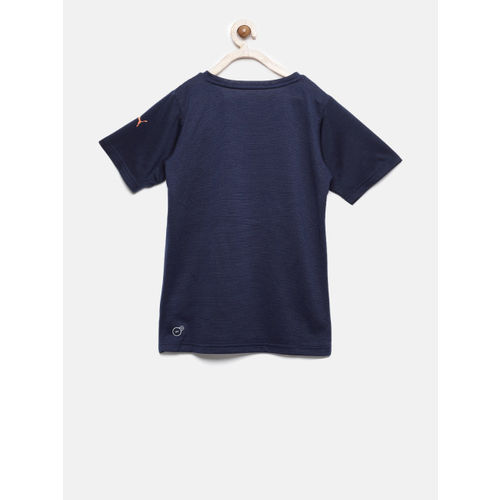Puma Boys Navy Blue Printed Round Neck T-shirt