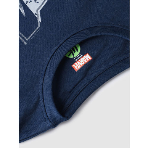 YK Boys Navy Blue Printed Round Neck T-shirt