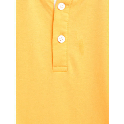 Lazy Shark Boys Yellow Solid Henley Neck T-shirt