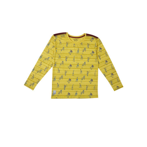 Palm Tree Boys Yellow Printed Round Neck T-shirt