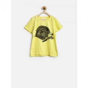 FS Mini Klub Boys Yellow Tortoise Print T-shirt