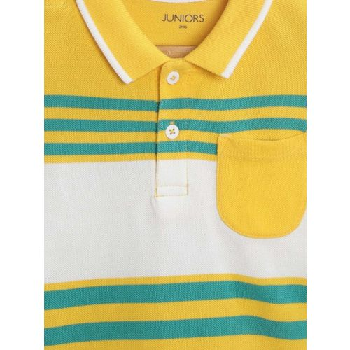Juniors by Lifestyle Boys Yellow & White Striped Polo Collar T-shirt
