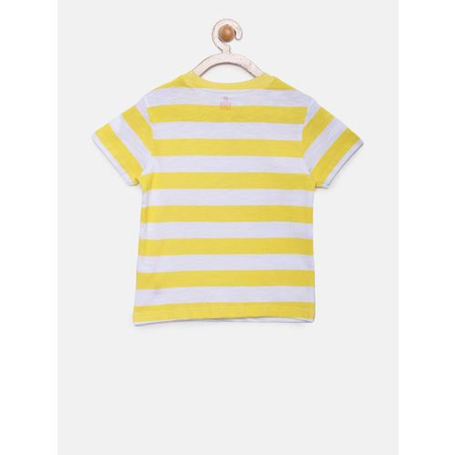 UFO Boys Yellow & White Striped Round Neck T-shirt