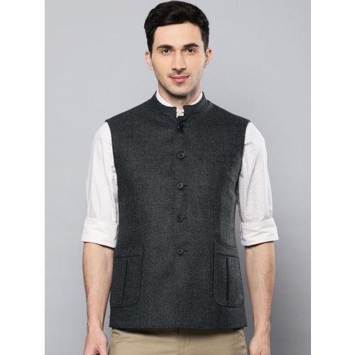 Louis Philippe Men Grey Woollen Self Design Regular Fit Nehru Jacket
